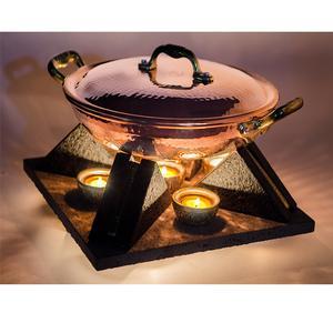 Scaldavivande Candeliere in Pietra Lavica con candele 32x32x14 Inserti Oro