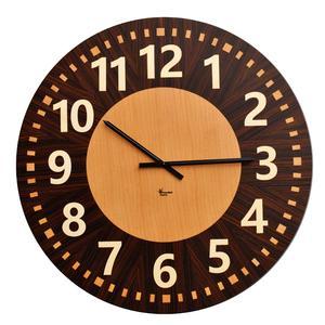 Orologio da parete Cronos diametro 69 cm realizzato con intarsio con essenze di acero faggio e palissandro