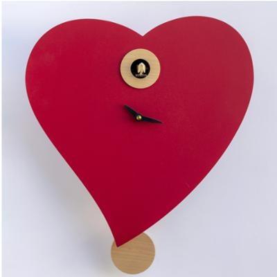 Cucù moderno a pendolo Pirondini cuore rosso 33x10xh44 cm cucina salotto