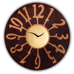 Orologio parete Orvieto Oro Faggio diametro 54 cm realizzato con intarsi fondo ciliegio numeri in palissandro
