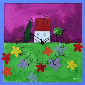 Orologio da parete Casetta fiorita 40x40 con stampa MDF per camerette bambini