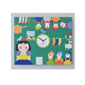 Orologio da parete Biancaneve stampa su MDF 44xh35 cm per camerette bambini