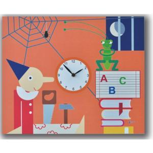 Orologio da parete Pinocchio stampa su MDF 35x44 per camerette bambini