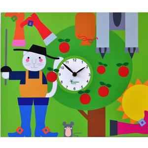 Orologio da parete Puss in Boots stampa su MDF 44xh35 cm per camerette bambini