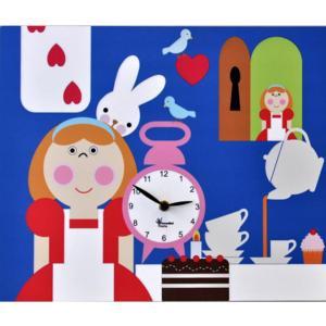 Orologio da parete Alice nel Paese delle meraviglie stampa su MDF 35x44 cm per camerette bambini