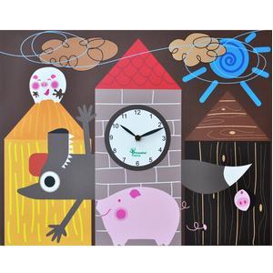 Orologio da parete I Tre porcellini stampa su MDF 44xh35 cm per camerette bambini
