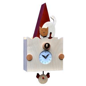 Pendolo Cucù Micio in Gaggio e Betulla 24x13xh50 cm adatto per camerette dei bambini