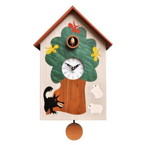 Orologio con cucù da Parete AL LUPO in legno 27x12.5xh39 cm con intarsi pregiati