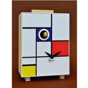 Orologio con Cucù da parete o da tavolo Mondrian House 16.5x9.8xh23 cm dettagli in faggio amssello