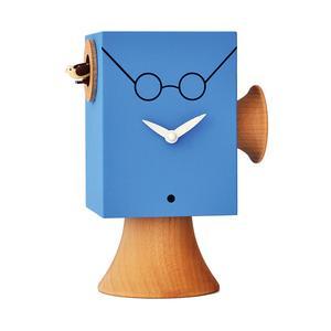 Orologio con cucù Da appoggio J.Lennon 15x11xh24 cm con particolari in legno massello tornito, colore blu chiaro