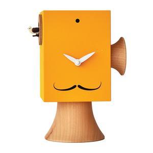 Orologio con cucù Da appoggio Dali 15x11xh24 cm con particolari in legno massello tornito, colore giallo