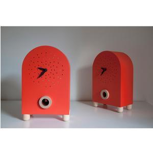 Orologio con cucù Da appoggio Marconi 17x11xh27 con particolari in legno di acero colore rosso