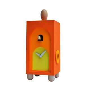 Orologio con cucù Da appoggio 12x11xh31 con particolari in legno massello colore arancio
