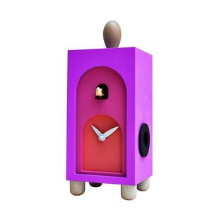 Orologio con cucù Da appoggio 12x11xh31 con particolari in legno massello colore viola