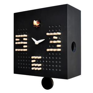 Orologio con cucù da Parete SOLITARIO in legno 22x10xh22 cm con in MDF colore Nero