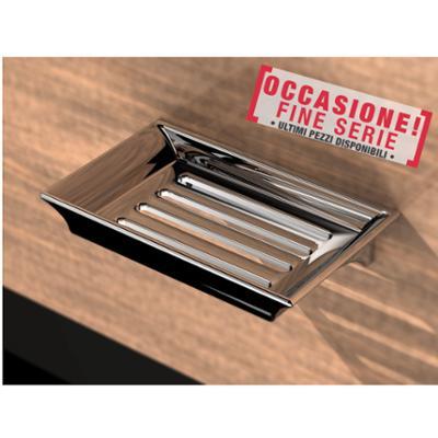 Mensola doccia portaspugna 14,7x9.7xh3,6 cm in acciaio inox lucido fissaggio a vite