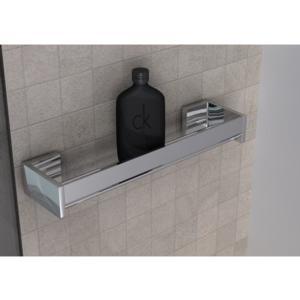 Mensola doccia bagno cromo h6x12x45cm Fissaggio Adesivo 3 M