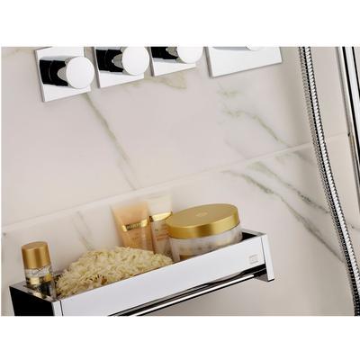 Mensola doccia bagno cromo h6x12x45cm Fissaggio Viti e stop