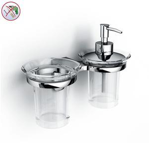 Porta Bicchiere e dispenser adesivo in Acrilico BRIXIA INCOLLO SENZA VITI corredati con kit biadesivo e collante 3M
