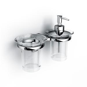 Porta Bicchiere e dispenser in Acrilico 21,7x11,8xh17,4 cm BRIXIA fISSAGGIO A VITI