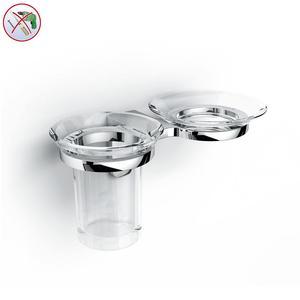 Porta Bicchiere - Sapone in Acrilico BRIXIA INCOLLO SENZA VITI corredati con kit biadesivo e collante 3M