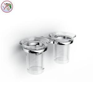 PORTA Bicchiere Doppio in Acrilico BRIXIA INCOLLO SENZA VITI corredati con kit biadesivo e collante 3M