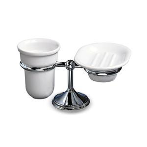 Porta Bicchiere e portasapone da appoggio 11x21.5xh13.50 cm in acciaio e porcellana