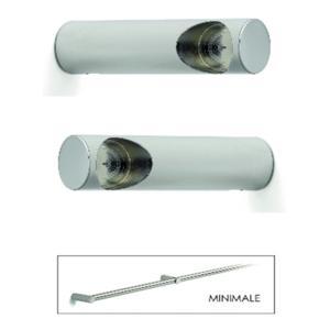 Base Minimale finale set 2 pezzi Barra da cucina portautensili rotonda in acciaio cromo lung 6 cm Inox Lucido