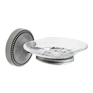 Portasapone sospeso Argento Antico ELITE 14x14,5xh7,5 cm con contenitore in Cristallo