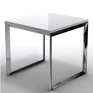 Tavolino basso da salotto con piano in MDF 50x50xh50 cm bianco
