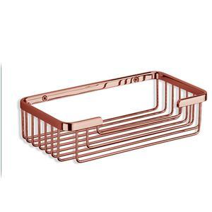 Porta Spugna in acciaio inox h6x13x25 cm , finitura rame Completo di stop per il montaggio