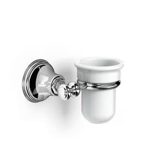 Porta Bicchiere sospeso in porcellana 14x12xh10.50 cm Liberty porcellana finitura inox lucido