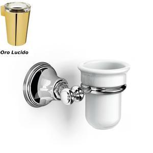 Porta Bicchiere sospeso in porcellana 14x12xh10.50 cm Liberty porcellana finitura Oro lucido
