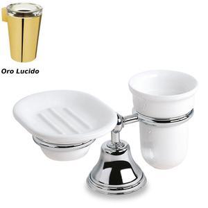 Porta Bicchiere e portasapone da appoggio 11x21.5xh13.50 cm Liberty porcellana finitura Oro lucido
