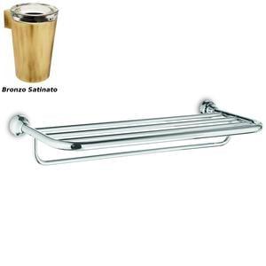 Ripiano Porta salviette per bagno, doccia 65,50x28,50xh11,40 cm finitura Bronzo satinato Completo di Stop di Fissaggio