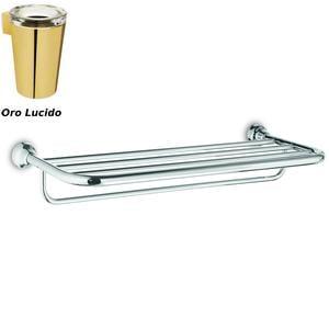 Ripiano Porta salviette per bagno, doccia 65,50x28,50xh11,40 cm finitura Oro Lucido Completo di Stop di Fissaggio