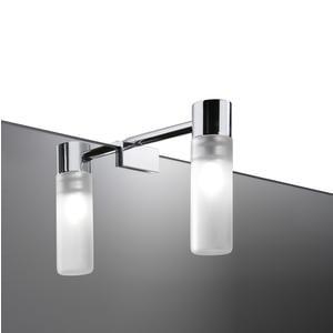 Applique alogena da bagno vetro e acciaio 4,6x9,1xh9,7cm con fissaggio a viti