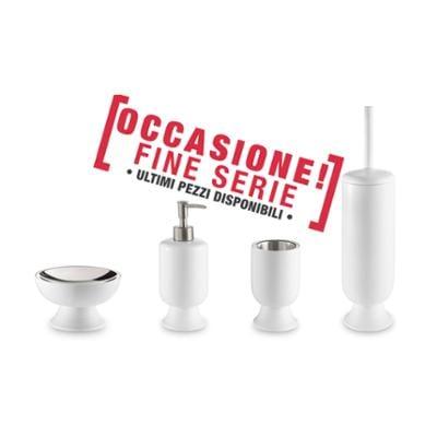 Set da bagno 4 pezzi in resina colore BIANCO-MISO portasapone. bicchiere, dispenser e portascopino
