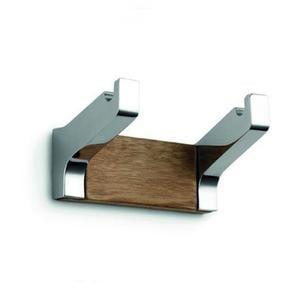 Appendino doppio Natura 4.4x5.1x h9 cm in acciaio inox e teak Completo di Stop per il montaggio