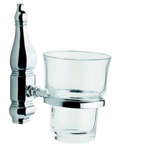 Porta Bicchiere in Cristallo RCR Linea QUEEN h 14,5X12,5X8 cm Cristallo RCR e Cromo