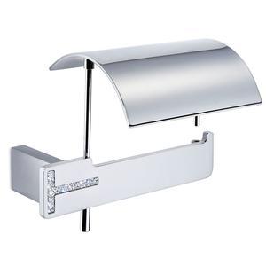 Portarotolo da bagno con coperchio 17,20x12,60xh11,20 cm Linea TOKYO Cromo e Swarovski