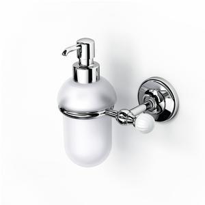 Porta Dispenser sospeso in Vetro Acidato VENEZIA 14x11xh16.50 cm inox lucido