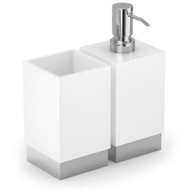 Porta Bicchiere - Dispenser da Appoggio XONY 18,5x10xh 17,30 cm Acciaio inox Lucido e Porcellana