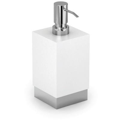 Porta Dispenser da Appoggio XONY 10x10xh17,30 cm Acciaio inox Lucido e Porcellana