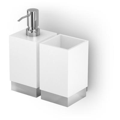 Porta Bicchiere - Dispenser da muro XONY 12x18.5xh17.30 cm Acciaio inox Lucido e Porcellana