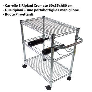 Carrello da cucina con tre ripiani 60x35xh80 cm 2 Piano e 1 Cestello portabottiglie Joy System