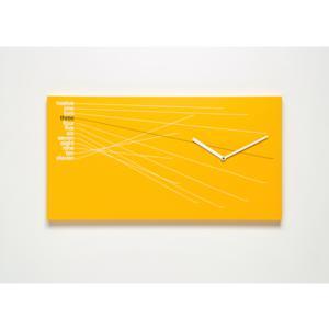 Orologio da parete Timeline in Legno verniciato 66x5xh35cm Arancio