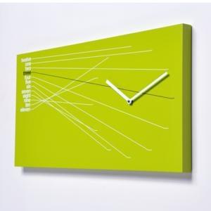 Orologio da parete Timeline in Legno verniciato 66x5xh35cm Verde