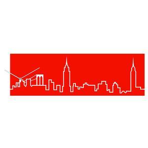 Orologio da parete Skyline in legno 79xh25 cm New York Rosso