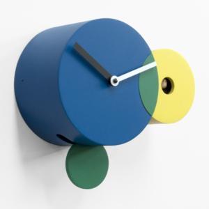 Orologio a Cucu KANDINSKY costruito da tre cerchi intersecati Blu Giallo